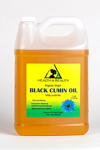 Black Seed Oil/Cumin Oil Unrefined Organic Virgin Raw Cold Pressed Premium Fresh Pure 128 oz, 7 LB, 1 gal