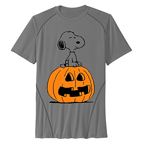 Men's Halloween Peanuts Snoopy Sitting On Pumpkin Athletic Tshirts - Sitting Pumpkin