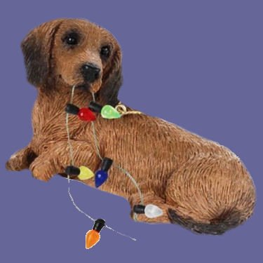 Sandicast Red Dachshund with Christmas Lights Ornament