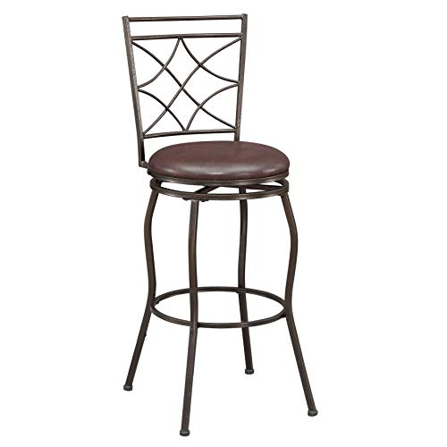 Ravenna Home Wood and Metal Detailed Swivel Kitchen Bar Stool, 44 Inch Height, Dark Espresso