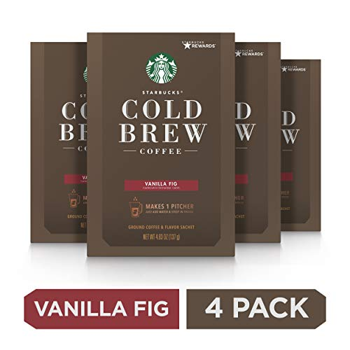 Starbucks Vanilla Coffee - Starbucks Vanilla Fig Flavored Cold Brew Coffee, Medium Roast Coffee, Four Boxes of 8.6 Oz., 4 boxes make 4 pitchers