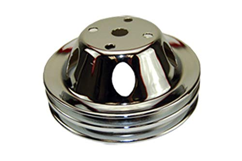 Pirate Mfg Sbc Chevy 283-350 Chrome Steel Vented Lwp Double Groove Water Pump Pulley ()
