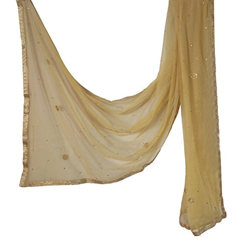 Indian Net Dupatta Chiunni Stole Neck Wrap Hijab Scarf Stole With Golden Border For Women (Beige) by Stylob