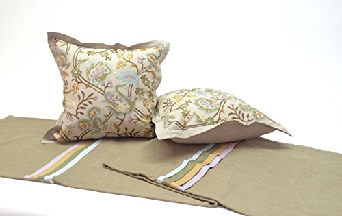 Bed Scarf with Two Embroidered Linen Pillows Soft Green, Inserts Included, Luxury Bedding for King and Queen Size Bedding Decor to Beautifully Accent a Bed by Fabrinique