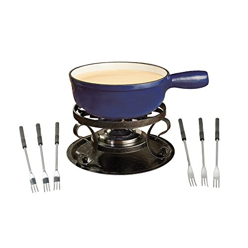 Swissmar KF-66518 Lugano 2-Quart Cast Iron Cheese Fondue Set, 9-Piece, Deep Blue (Dual Fondue)
