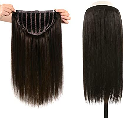 Winsky 14 Half Wig Real Human Hair Extensions Clip In For Women Silky Straight One Piece U Part Short Hair Hairpiece 14inch 2 100g Dark Brown Buy Online At Best Price In