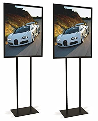 """Econoco Heavy Duty Poster Display Indoor Standing Flyer Board 60/""""H For Posters 22/""""x28/"""" Twin Uprights Flat Floor Base Bulletin Sign Holder"""