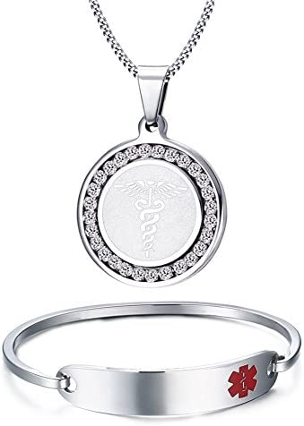 "VNOX (Free Engraving) Stainless Steel Medical Alert ID Bangle 7.5"" Bracele+24"" Pendant,Silver"