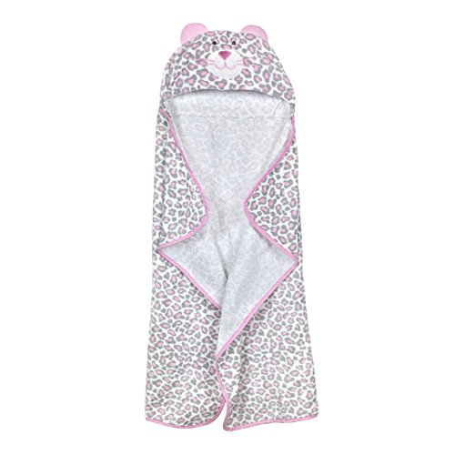 Born Wrap (Just Born Just Bath Welcome to the Circus Hooded Bath Wrap, Pink Leopard/Grey/White)