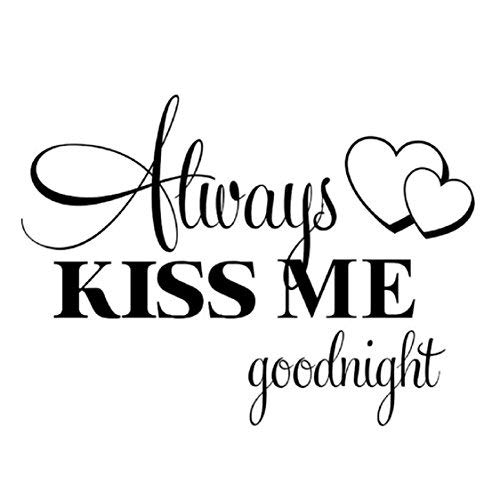 Wall Stickers Ikevan Always Kiss Me Goodnight Wall Sticker PVC Decal Home Bedroom Living Room TV Setting Wall Sticker Romance Home Decoration 57x42cm