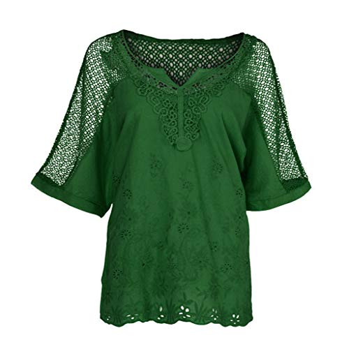 Sanyyanlsy Women's Plus Size Lace Patchwork Hollow-Out T-Shirt Blouse Batwing Short Sleeve Tank Tops Summer Vest Shirt Green