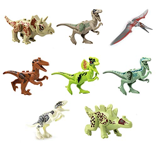 Dinosaur Jurassic World Building Blocks Toy Playset Action Figures | Educational Gift for Kids | Pack of 8 Pieces as Cake Topper or Party Favor -