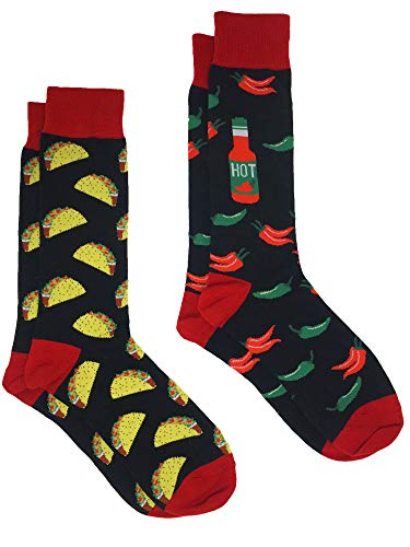 360 Threads Men's Novelty Socks - 2 Pair Set (Hot Sauce & Taco black)