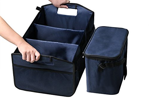 ble Car Trunk Organizer & Cooler Bag, Foldable Travel Storage Container, Sturdy Clutter Control for Car, SUV, Truck, Van, Home, Groceries (Indigo) ()