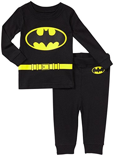 DC Comics Baby Infant 'Batman Superhero Logo' Cotton Costume Pajama Set, black, 18MO