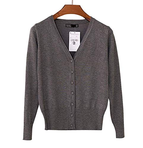 neck Top Scuro Giovane Maglie Donna Moda Size Di S Breasted Primaverile Monocromo Lana V color Grigio Alta Confortevole Vita Manica Lunga Slim Outwear Autunno Fit Maglione Single dxZOx