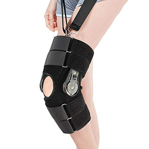 AOPAWOX Hinged Knee Brace with Strap, Adjustable Leg Stabilizer Recovery Immobilization Splint - Medical Orthopedic Guard Protector Patella Injury Immobilizer Brace,M (Immobilization Splints)