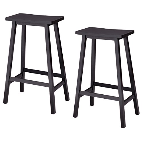 COSTWAY Saddle Seat Bar Stools Set of 2 Wood Vintage Counter Height Barstools Wood Bistro Dining Kitchen Pub Chairs (Black, 29
