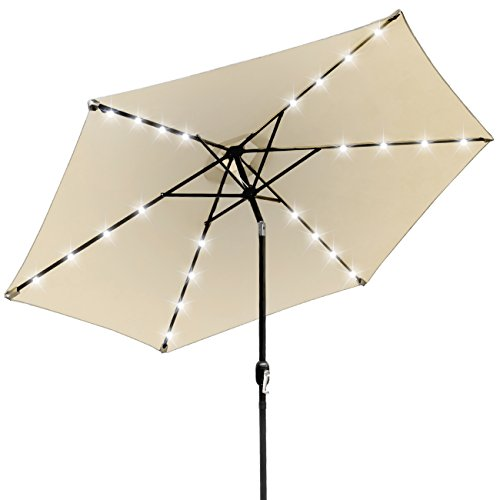 Sorbus LED Outdoor Umbrella, 10 ft Patio Umbrella LED Solar Power, with Tilt Adjustment and Crank Lift System, Perfect for Backyard, Patio, Deck, Poolside, and More (Solar LED – Beige)