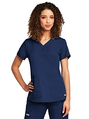 Grey's Anatomy Women's Two Pocket V-Neck Scrub Top with Shirring Back, Indigo, (Greys Anatomy 2 Pocket)