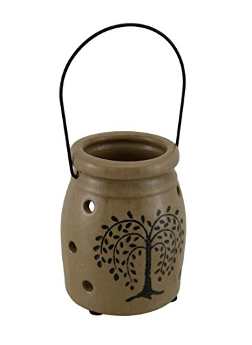 - Zeckos Porcelain Candleholders Crackle Finish Porcelain Willow Tree Decorative Candle Holder 3.5 X 4.5 X 3.5 Inches Beige