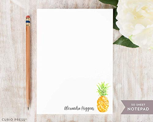 PAINTED PINEAPPLE NOTEPAD - Personalized Stationery/Stationary Fruit 5x7 or 8x10 Note ()