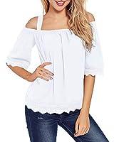 LEANI Women's Cold Shoulder Lace Trim Loose Blouse Top Summer Solid Color Spaghetti Strap Shirt