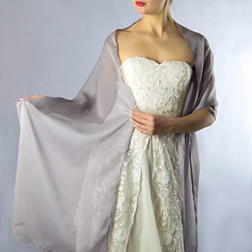 Châle Écharpe Étole Chiffon Femme Mariage sur Robe de Soirée Mariée en rose gris beige
