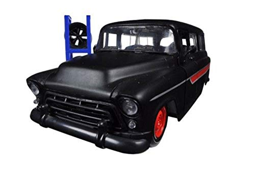 (1957 Chevorlet Suburban, Primer Black with Red - Jada 54027/W18 - 1/24 Scale Diecast Model Toy Car)