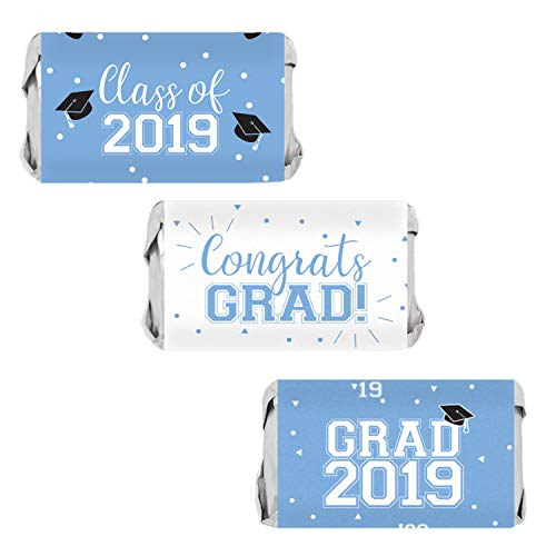 Class of 2019 Graduation Mini Candy Bar Wrappers | 54 Stickers (Light Blue) -