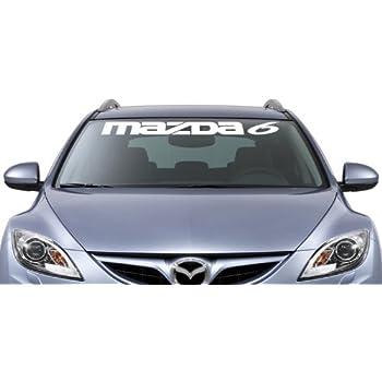 Mazda 6 windshield vinyl banner wall decal 36 x 3 with free bumper sticker