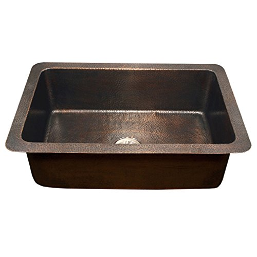 Houzer HW-CHA11 Hammerwerks Series Chalet Chef Undermount Copper Large Single Bowl Kitchen Sink, Antique Copper