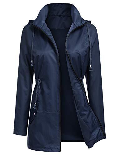 URRU Women's Lightweight Rain Jacket Waterproof Hood Fashion Outdoor Rain Coat Navy Blue XL