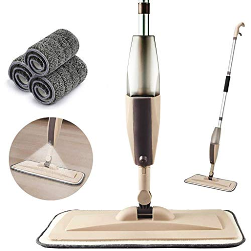 Microfiber Spray Mop for Floor Cleaning, Dry Wet Wood Floor Mop with 3 pcs Washable Pads, Handle Flat Mop with Sprayer for Kitchen Wood Floor Hardwood Laminate Ceramic Tiles Dust Cleaning