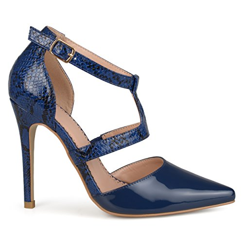 Brinley Co. Womens Faux Patent Leather Pointed Toe T-Strap Heels Navy, 9 Regular US