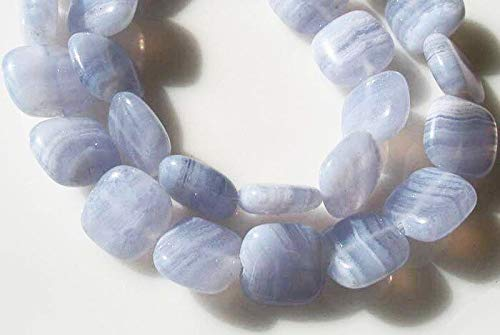 Three Beads of Blue Horizons! Blue Lace Agate 11x10x4mm Square Beads 9523
