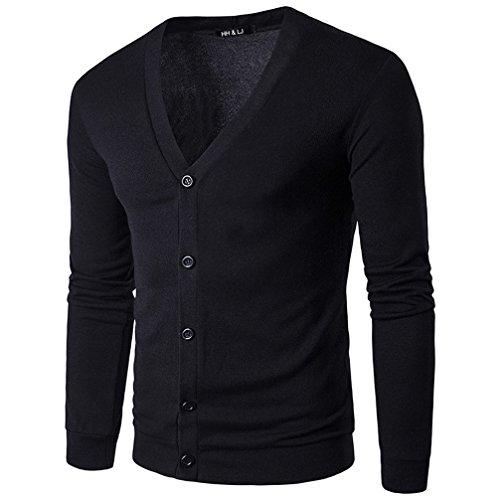 HHLJ Mens Casual Slim Fit Basic Designed Long Sleeve V-Neck Front Button Knitted Cardigan Coat Sweater (S, Black)