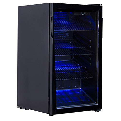 BeUniqueToday 120 Can Beverage Mini Refrigerator With Glass Door