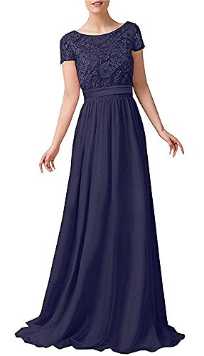 Abendkleider Langes Blau Royal La Braut Blau Kurzarm mit Navy Chiffon mia Festlichkleider Spitze Damen Dunkel Brautmutterkleider qqp0wSF