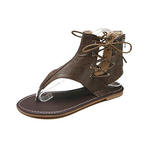 WHLShoes Sandalias y chanclas para mujer Plana Sandalias Romanas Moda Verano De Gran Tamaño De Mujeres Clip Plus Size Casual Toe Joker Dark brown