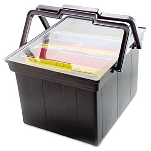 Companion Advantus Portable File - ADVANTUS Companion Letter/Legal Portable Plastic File Box, Includes Lid and Handles, 17 x 14 x 11 Inches, Black (TLF-2B) - Pack of 3