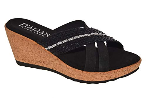 ITALIAN Shoemakers Womens Lyra Fashion Wedge Sandals Made in Italy,Black,10