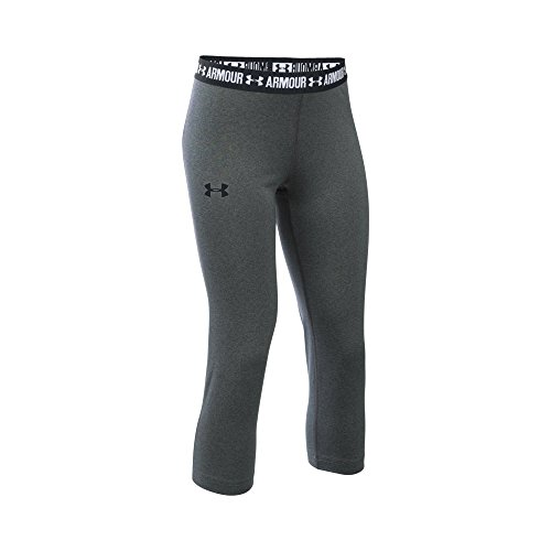 Under Armour Girls' HeatGear Armour Solid Capri, Carbon Heather/Black, Youth Large