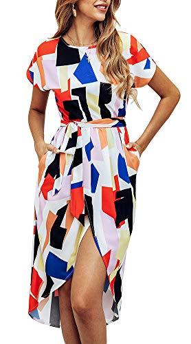 ETCYY NEW Women's Summer Dresses Short Sleeves Geometric Split Tie Waist Belted Swing Dress Rainbow