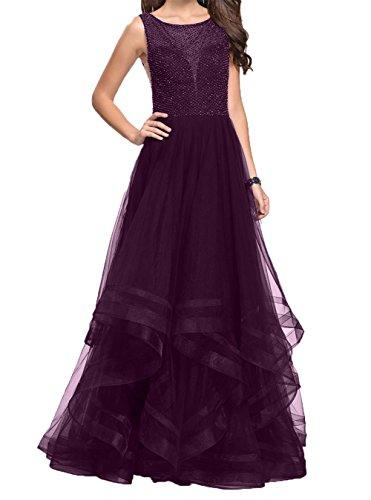Damen Pailletten Prinzess Promkleider Brautmutterkleider Traube Rock Charmant A Festlichkleider Lila Linie Dunkel Abendkleider Tdn88qR6