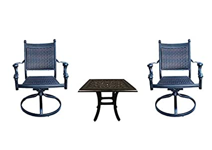 Swell Amazon Com Patio Bistro Set 3 Piece With Swivel Chairs Evergreenethics Interior Chair Design Evergreenethicsorg