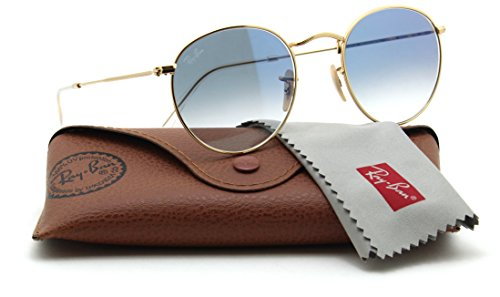 Ray-Ban RB3447N 001/3F ROUND FLAT LENSES Gold Sunglasses, - Ban Flat Round Lenses Ray