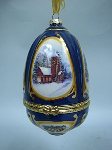 Mr Christmas Porcelain Musical Ornament Cobalt Blue Egg Music Box Plays Oh Holy ()