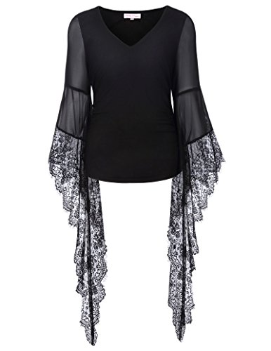 Women Steampunk Long Sleeve T shirts Tops Lace Gothic Tee shirts BP000349-1 Black - Fashion Inspired Steampunk