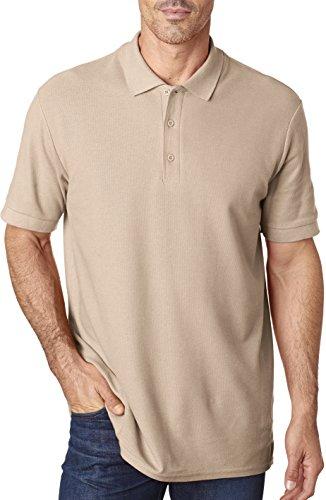Gildan Mens Premium Cotton Double Piqué Sport Shirt (G828) -Sand -L